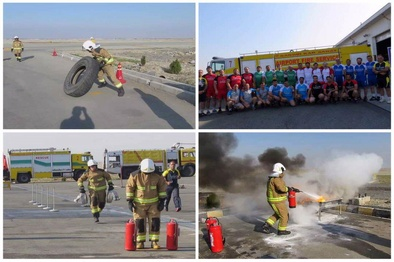 اختتامیه دومین دوره مسابقات آتش نشانی در شهر فرودگاهی امام