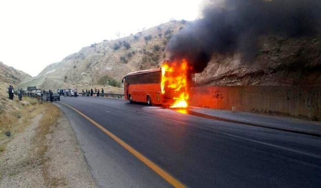 جزئیات بیشتر از سانحه آتش سوزی اتوبوس در تفت