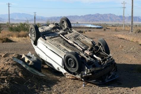 واژگونی مرگبار پراید در جاده اراک - سلفجگان