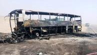 سوخت قاچاق اتوبوس مسافربری را به آتش کشید + عکس
