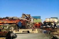فیلم  تصادف دلخراش کامیونها در ایست و بازرسی شهرضا