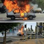 آتشزدن خودرو وسط چهارراه جهانکودک