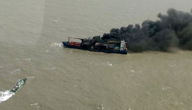 Burning Container Ship Grounds, Partially Sinks Off India