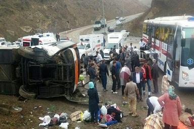 مرگ چهار نفر در  واژگونی اتوبوس تهران-خوی