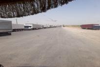 عکس  صف طولانی کامیونها در مرز پرویزخان