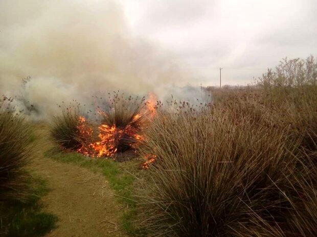 آتش سوزی در دو راهی کهورستان بندر خمیر درحال مهار است
