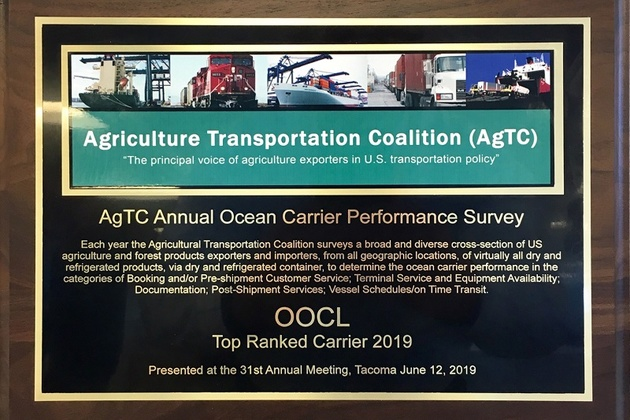 "OOCL receives the ""Top Ranked Carrier 2019″ from AgTC"