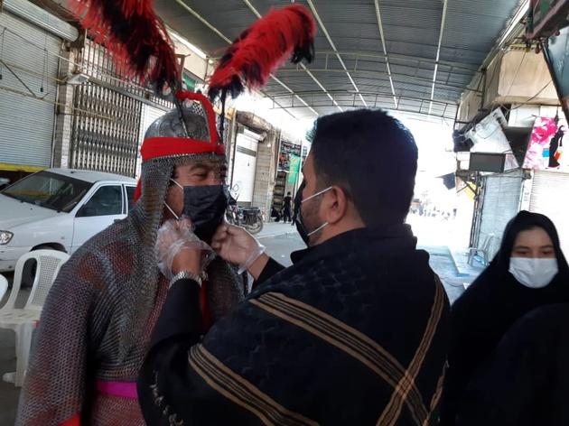 توزیع 25هزار عدد ماسک در پویش نذر ماسک در خمینی شهر (حسینیه ایران)