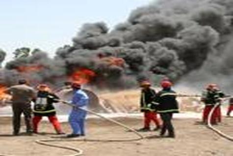 مرگ رانندهی کامیون در میان شعلههای آتش