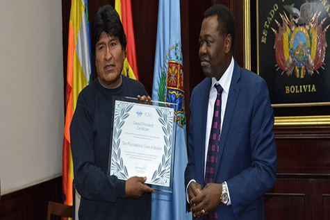 President of ICAO Council and President of Bolivia affirm importance of progress on compliance and air transport development