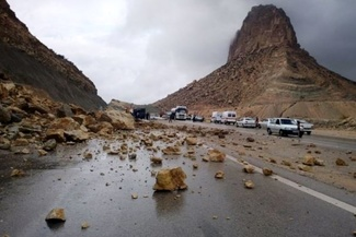 ریزش کوه در خیابان ولیپور شهرک باغمیشه تبریز