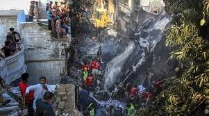 ۹۷ کشته و ۲ بازمانده در سقوط هواپیمای مسافربری در کراچی