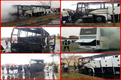 اتوبوس یزد - زاهدان طعمه حریق شد