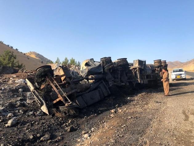 فیلم  آتشسوزی مرگبار یک کامیون در مرز باشماق
