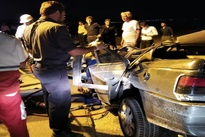عکس| خودروی سواری در تصادف له شد