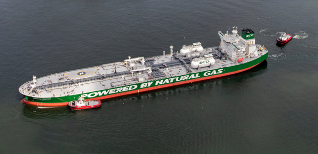 LNG-Powered Crude Oil Tanker Crossing Northern Sea Route