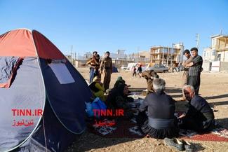 گزارش تصویری/ کمپ مردم زلزله زده خارج از خانهها در شهرستان ثلاث